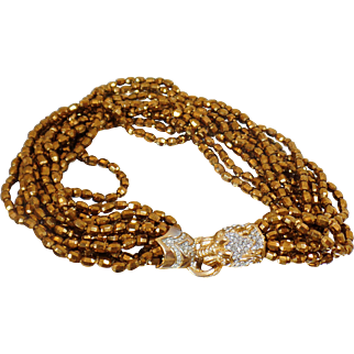Vintage Rare Donald Stannard Lion Art Glass Necklace. Nine Strand Copper Golden Brown Glass Beads and Lion Head Rhinestone Necklace