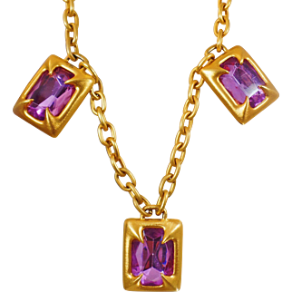 Vintage Atomic Age Pink Glass Necklace. 1960 Huge Brushed Gold and Pink Glass Rhinestone Necklace.