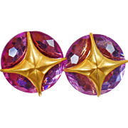 Vintage Atomic Age Pink Rhinestone Earrings. Faceted Pink Rhinestone and Brushed Gold Earrings.