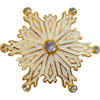 Vintage White Glitter Snowflake Brooch. Large Gold and White Rhinestone Snowflake Pin. Christmas Pin. Holiday Brooch.