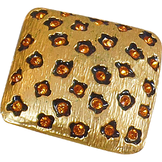 Vintage Leopard Style Rhinestone Brooch. Vintage Leopard Print Pin. Animal Print Gold Brooch.