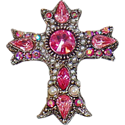 Vintage Ornate Pink Rhinestone and Pearl Cross Brooch. Pink Rhinestone Cross Pin.