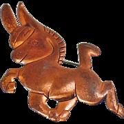Vintage Copper Donkey Brooch. Political Democrat Copper Donkey Pin. Copper Burro Brooch. Folk Art Copper Pin.