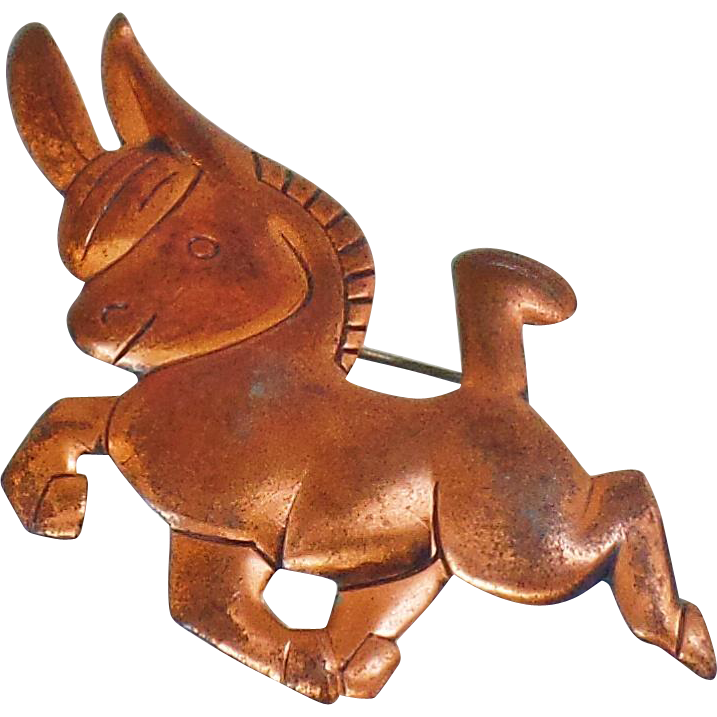 Vintage Copper Donkey Brooch. Political Democrat Copper Donkey Pin. Copper Burro Brooch. Folk Art Copper Pin.