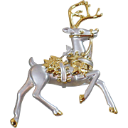 Vintage Large Silver and Gold Reindeer Brooch. Brushed Silver and Gold Reindeer Pin. Regal Rudolph Brooch. Christmas Brooch