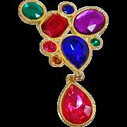 Vintage Jewel Tone Dangle Brooch. Modernist Revival Dangling Teardrops Jeweltone Pin. Blue Pink Red Purple Green Jewel Brooch.