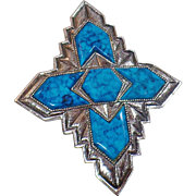 Vintage Turquoise Blue Cross Brooch. Sarah Coventry Inca Set. Southwestern Silver and Faux Turquoise Cross Pin.