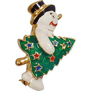 Vintage Enamel Snowman and Christmas Tree Brooch. JC. White Enamel Snowman Christmas Pin. Holiday Pin.