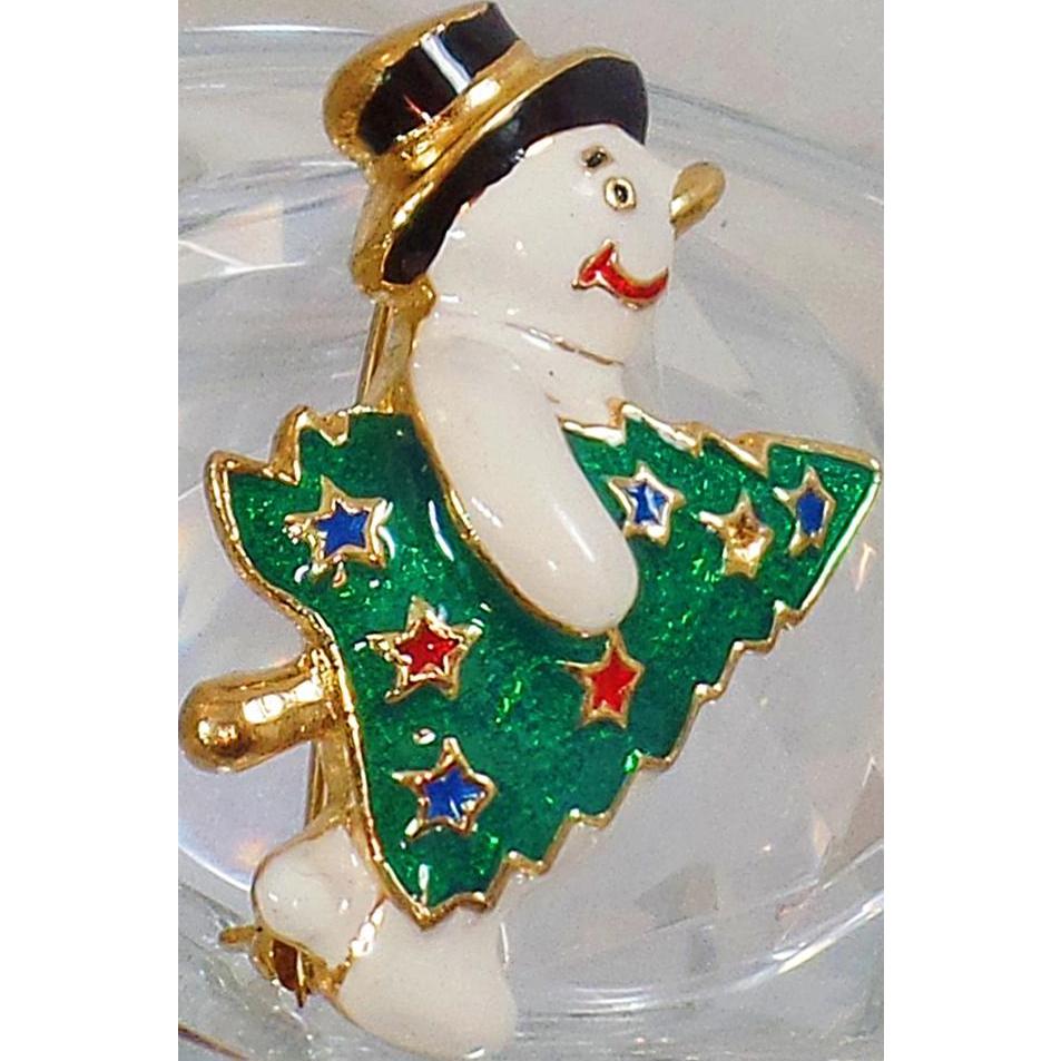 Vintage Enamel Snowman and Christmas Tree Brooch. JC. White Enamel Snowman Christmas Pin. Holiday Pin.