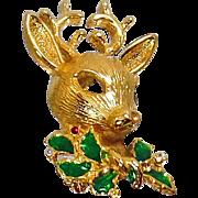 Vintage Rudolph Reindeer Christmas Brooch. Rhinestone Reindeer Pin. Red Green Holly. Holiday Pin.