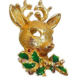 Vintage Rudolph Reindeer Christmas Brooch. Rhinestone Reindeer Pin. Red Green Holly. Holiday Pin.