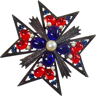 Vintage Weiss Maltese Cross Brooch. Pendant. Large Ornate Red Blue Pearl Cabochon Maltese Cross Pin.