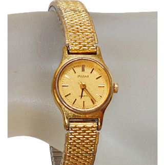 Vintage Gold Pulsar Ladies Watch. Gold Tone Seiko Women's Watch.