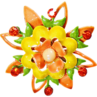 Vintage Yellow Green Orange Rhinestone Flower Brooch. Neon Orange Yellow Green Rhinestone Flower Pin. Mod Flower Power Pin