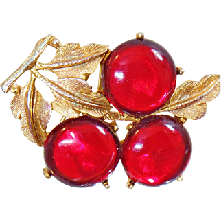 Vintage Cherry Brooch. Red Cherries Brooch. Cherry Amber Brooch. 3 Cherries Brooch.