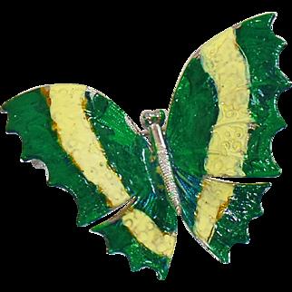 Vintage Green Yellow Enamel Butterfly Brooch. Green Yellow Enamel on Silver Butterfly Pin.
