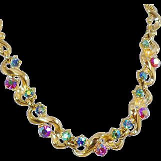 Vintage Colorful AB Rhinestone Choker Necklace. 1950s. Bold Gold Rhinestone Prom Choker Necklace.