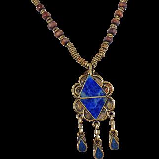 Vintage Blue Lapis Lazuli Necklace. Silver Ornate Handmade Necklace. Egyptian Revival. Middle Eastern.
