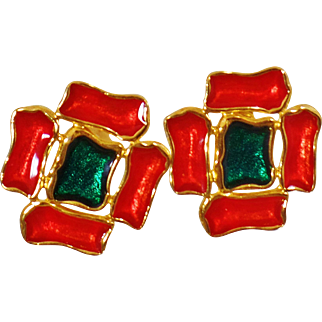 Vintage Orange Green Enamel Earrings. Abstract Flower Enamel Earrings. Orange Green Enamel Flower Earrings.