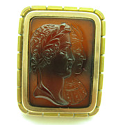 Antique Victorian Hardstone Double Portrait Cameo 14K Gold Tie Pin