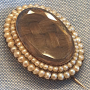 Antique Georgian Seed Pearl Hair Mourning Brooch