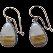 Vintage Good Filled Banded Agate Tear Drop Earrings