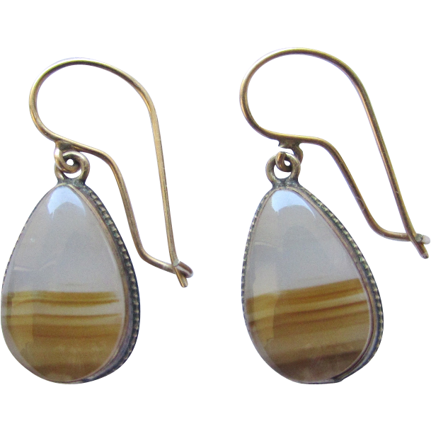 Vintage Good Filled Banded Agate Tear Drop Earrings