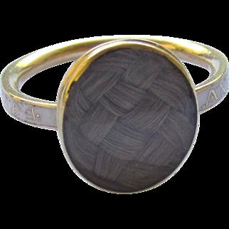 Georgian 1776 White Enamel 18K Yellow Gold Hair Mourning Ring