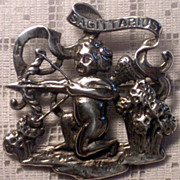Vintage Cini Zodiac Sterling Silver Cherub or Cupid Sagittarius Brooch