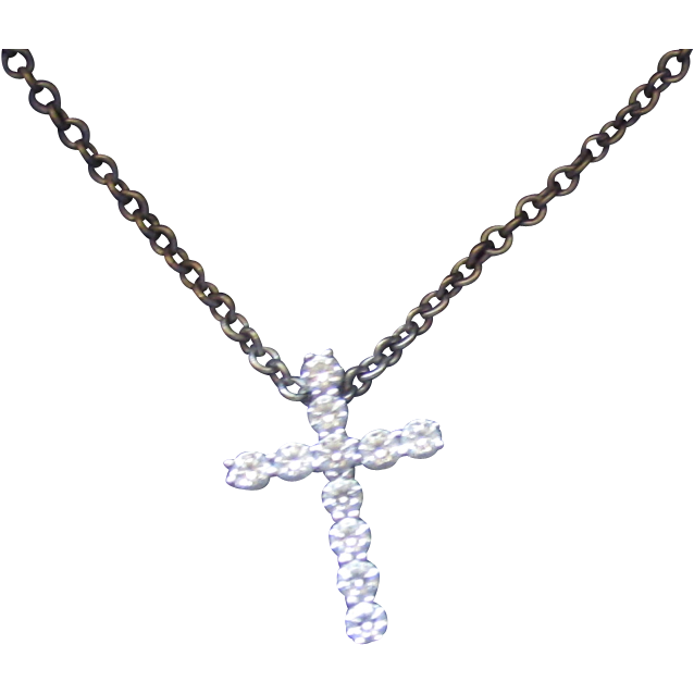"Estate Hearts on Fire 18K WG Whimsical Diamond Cross Pendant 16"" Necklace"