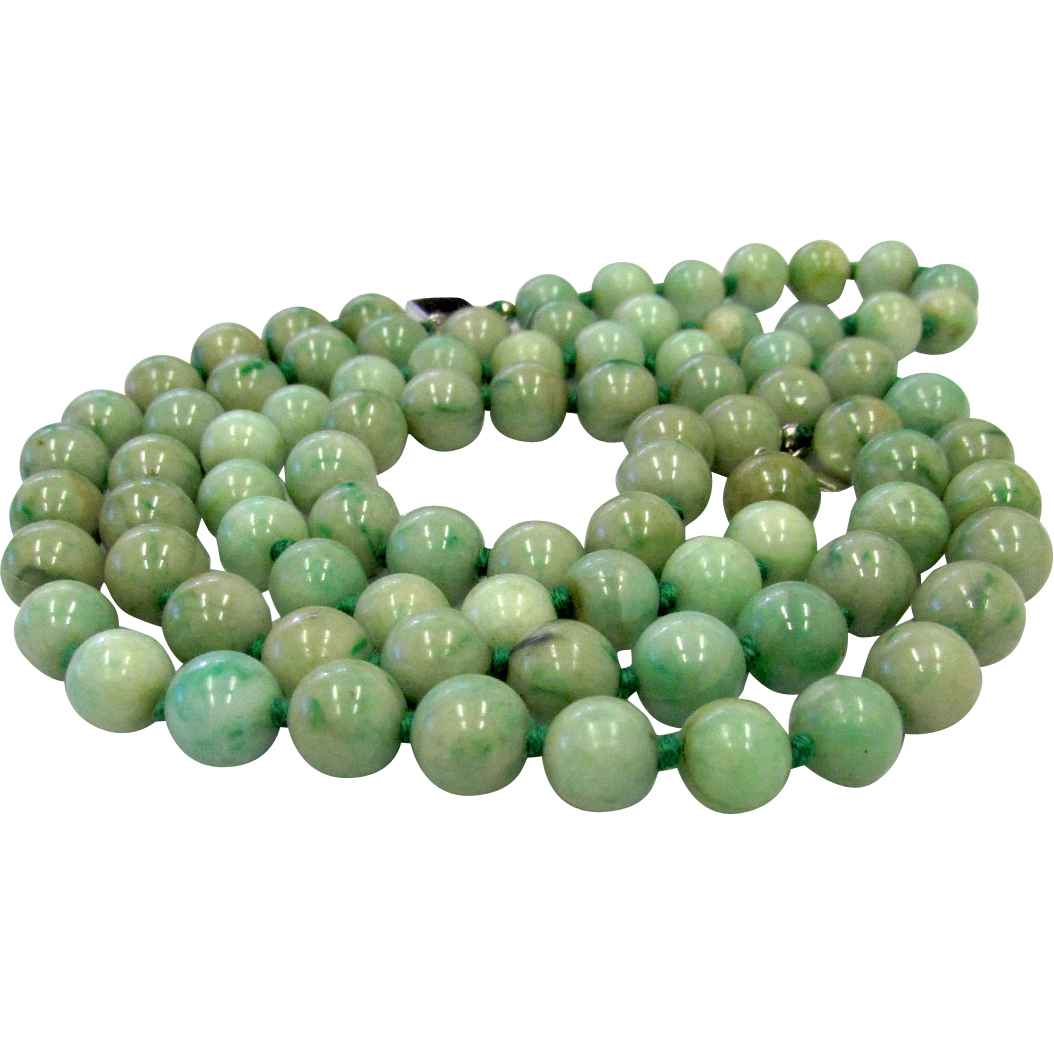 Antique Natural Green Jadeite Jade Double Strand Beads Necklace