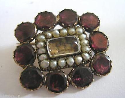 Antique Georgian 9K Rose Gold Garnet Pearl Mourning Hair Lace Pin