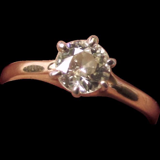 Antique 14K YG 3/4 carat Old European Cut Diamond Engagement Ring