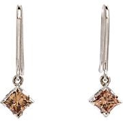 Estate 14K White Gold 1ct Princess Cut Brown Diamond Dangling Earrings
