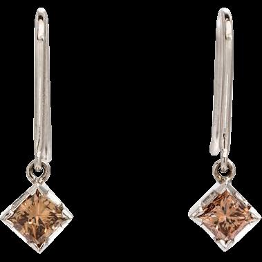 Estate 14K White Gold 1ct Princess Cut Brown Diamond Dangling Earrings