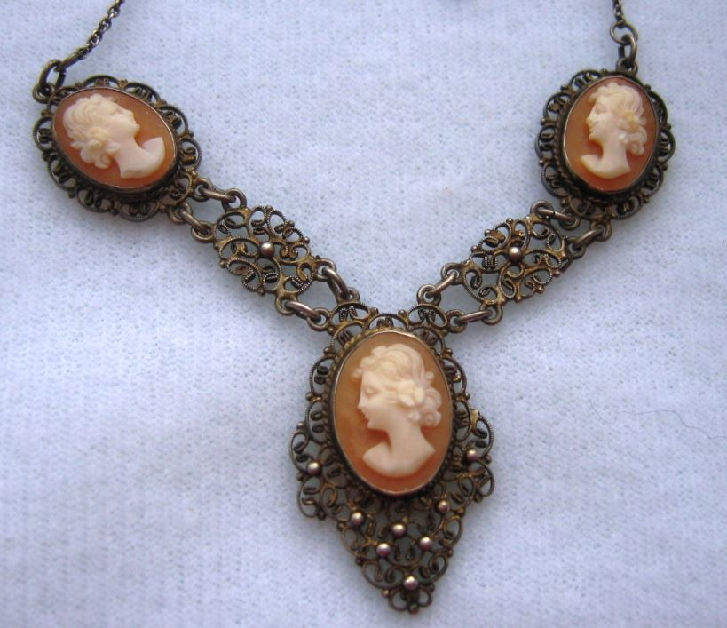 vintage silver filigree shell cameo necklace from