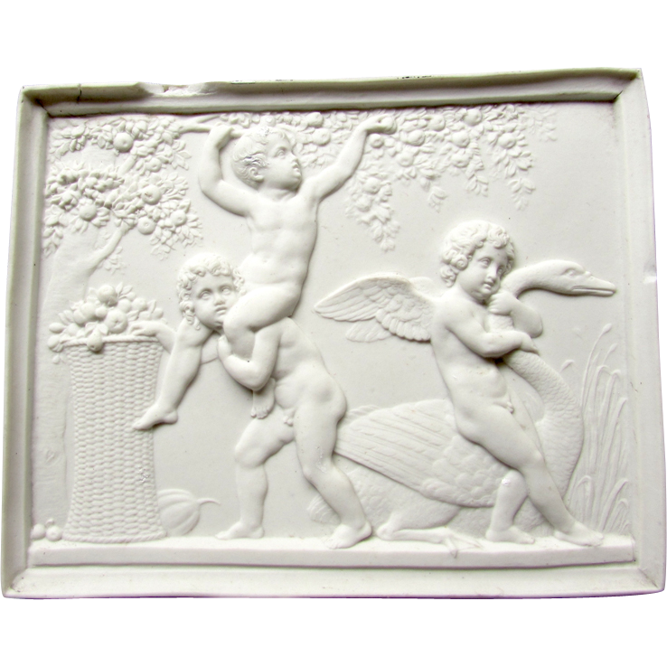 Antique Bing & Grondahl Parian Bisque Royal Copenhagen Plaque Cupid Cherubs Putti Swan
