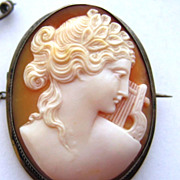 Antique Victorian Silver Carved Shell Cameo Pin Pendant Combo