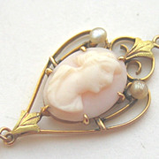 Antique Art Nouveau 10K Gold Carved Coral Cameo Lavaliere Pendant