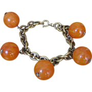 Vintage Art Deco Butterscotch Beads Ball Star Bracelet