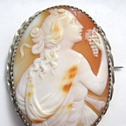 Antique Victorian Carved Shell Cameo Dionysus Silver Brooch