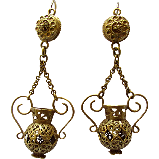 Antique Victorian 10K Yellow Gold Cannetille Filigree Dangling Earrings