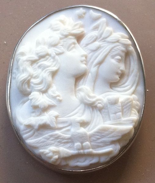 Antique Victorian Carved Pink Cameo Day and Night Eos Nyx Eagle Silver Brooch