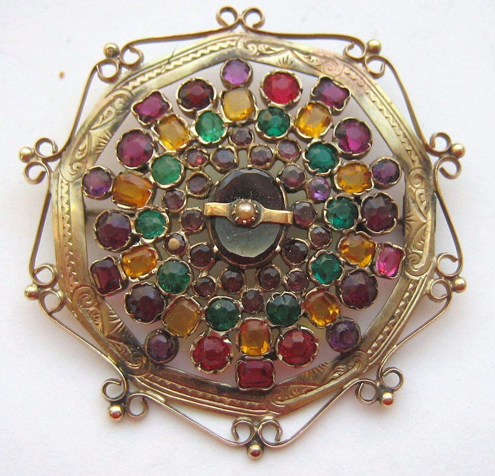 Antique Multi Color Paste Stone and Garnet Pearl Brooch