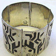 Mexican Vintage Taxco 925 Sterling Silver Cuff Link Bracelet Basket Playing