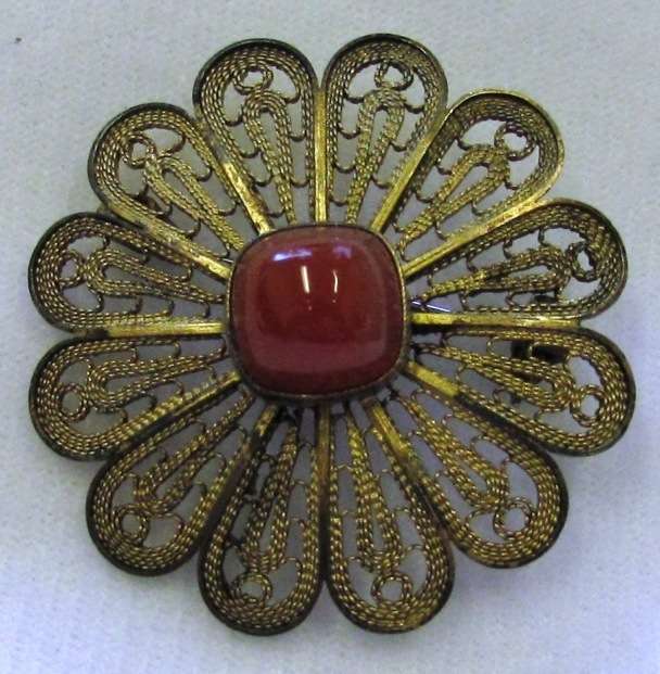 Vintage 925 Sterling Silver Filigree Flower Brooch Carnelian