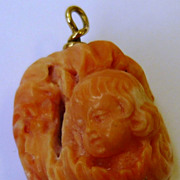 Vintage 14K Gold Carved Salmon Coral Angel Cherub Charm Pendant