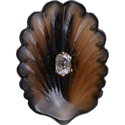 Victorian Rose Gold Carve Hardstone Diamond Shell Brooch