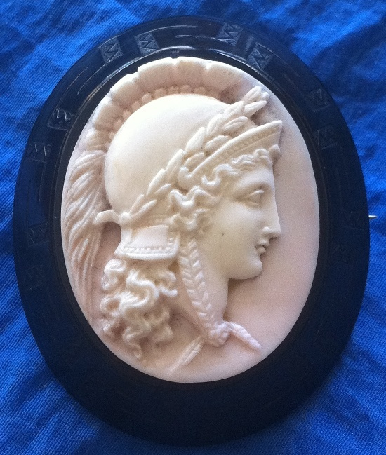 Antique Victorian Black Jet Pink Coral Cameo Athena Brooch