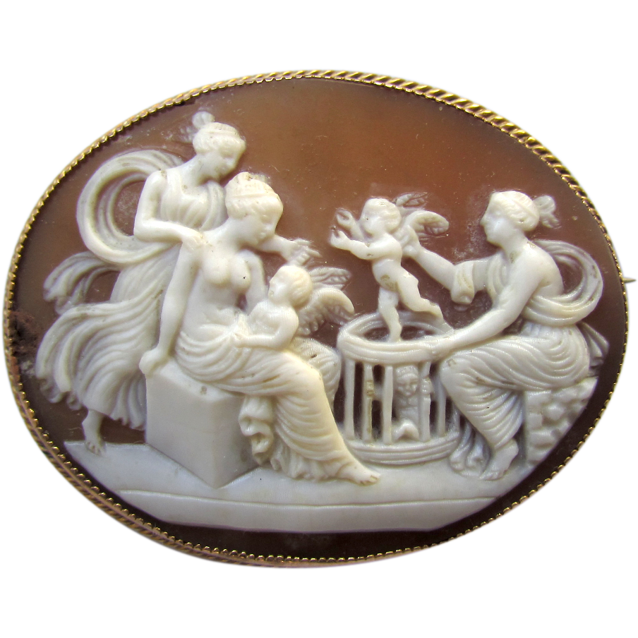 Antique Victorian 9K Yellow Gold Shell Cameo the Cupid Seller